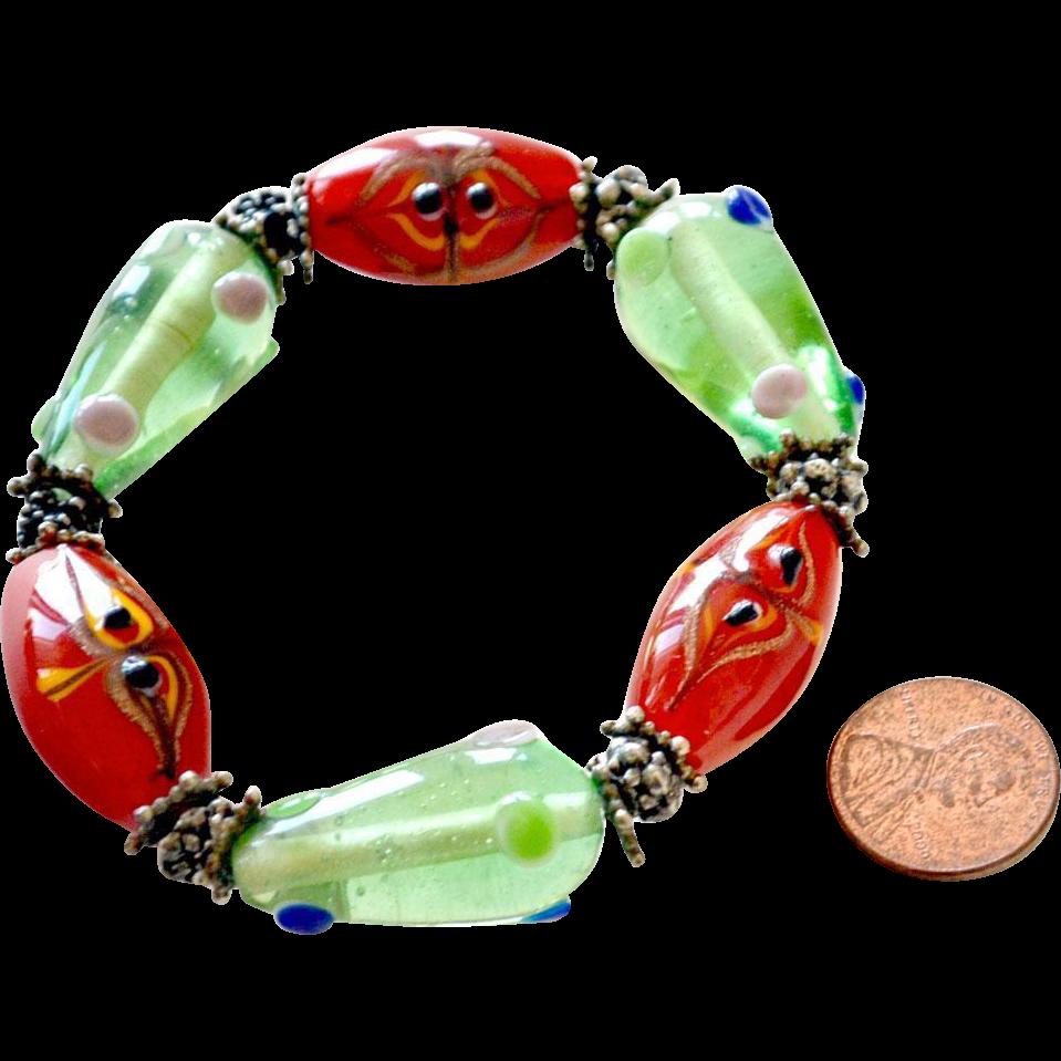 Bracelet Jumbo Art Glass Beads
