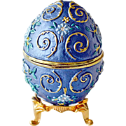 Egg Trinket Box Cornflower Blue Enamel
