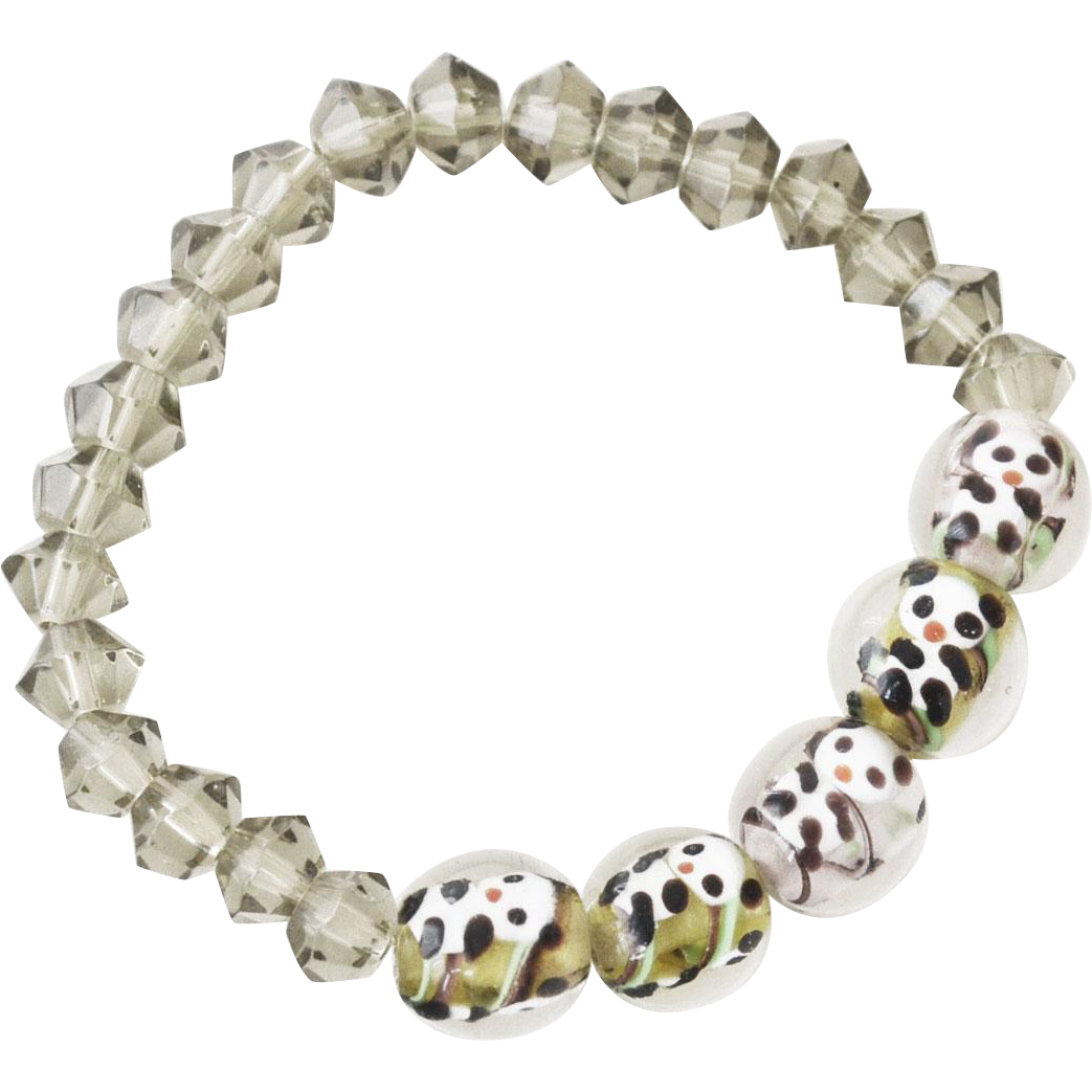 Bracelet Panda Bear Art Glass Beads