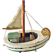 Vintage Miniature Boat Wood with Sails and Rigging