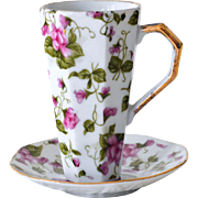 Cup and Saucer Violets Chintz Style Pattern Japan