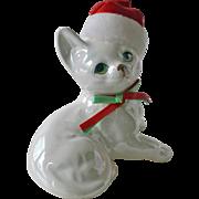 Enesco Cat with Christmas Cap
