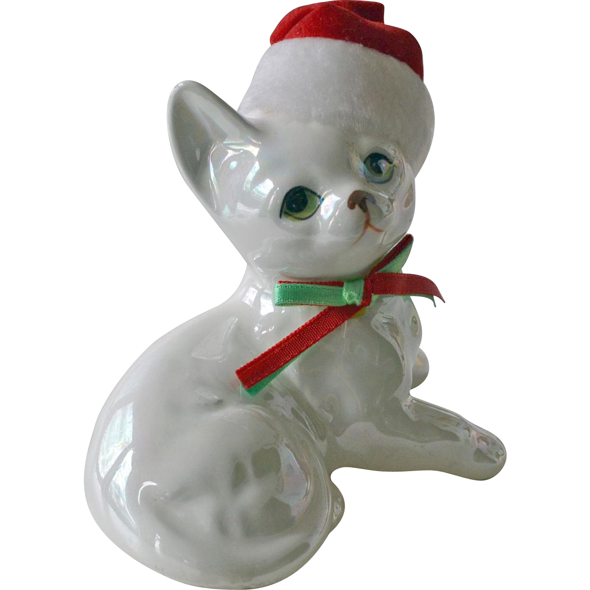 Enesco Cat with Christmas Cap