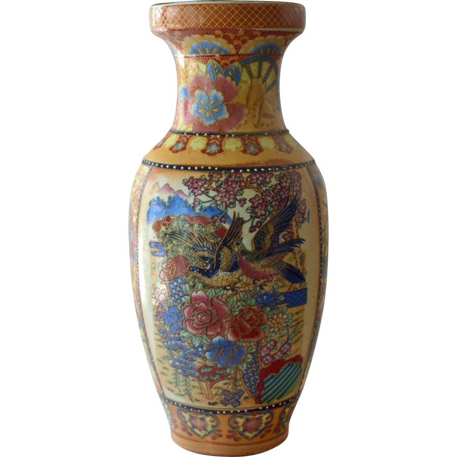 Oriental Vase with Flying Birds Raised Gold Trim