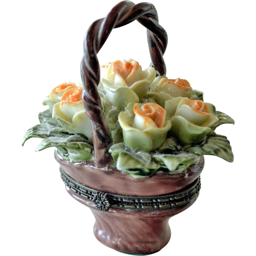 Trinket Box Porcelain Basket with Flowers