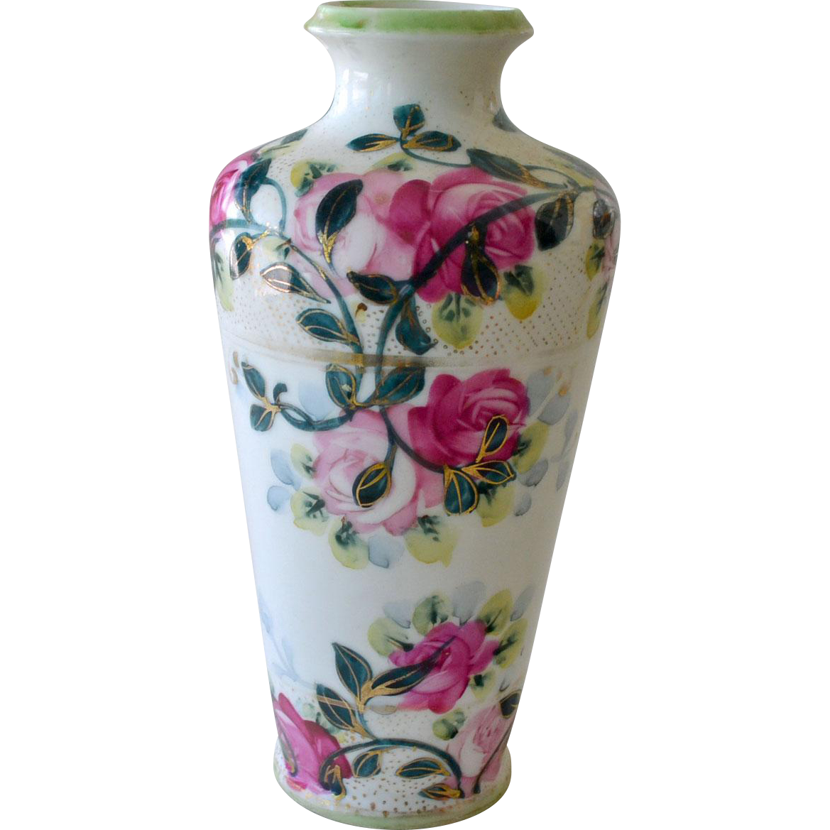 Hand Painted Porcelain Vase with Roses