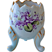 Porcelain Egg Vase with Violets