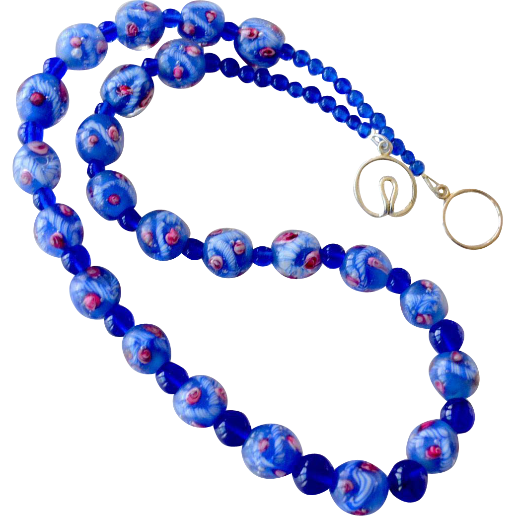 Necklace Cobalt Blue Art Glass Beads