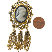 Stone Cameo Pin Brooch with Tassels