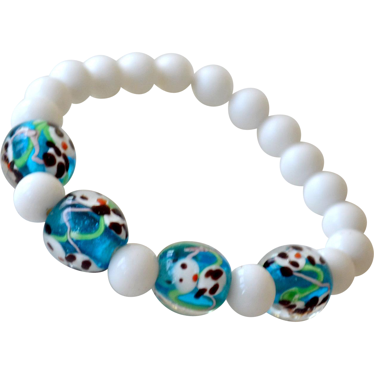 Bracelet White Milk Glass Beads and Art Glass Panda Beads