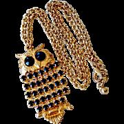 Owl Pendant Necklace with Black Stones