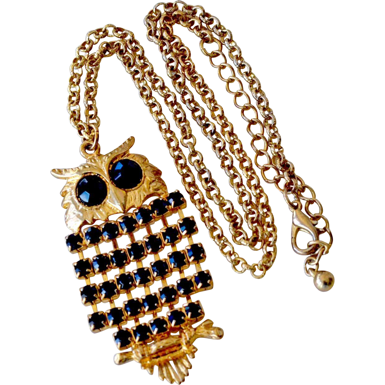Owl Pendant Necklace with Black Stones
