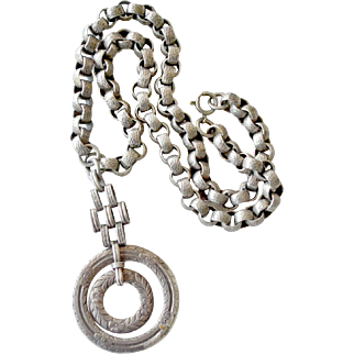 Silver Necklace with Pendant Large Links Old