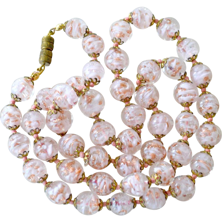 Necklace Sommerso Venetian Pink Glass Beads 24 Inches Knotted