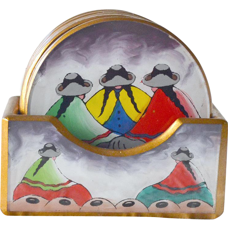 Hand Painted Coaster Set Southwest Style