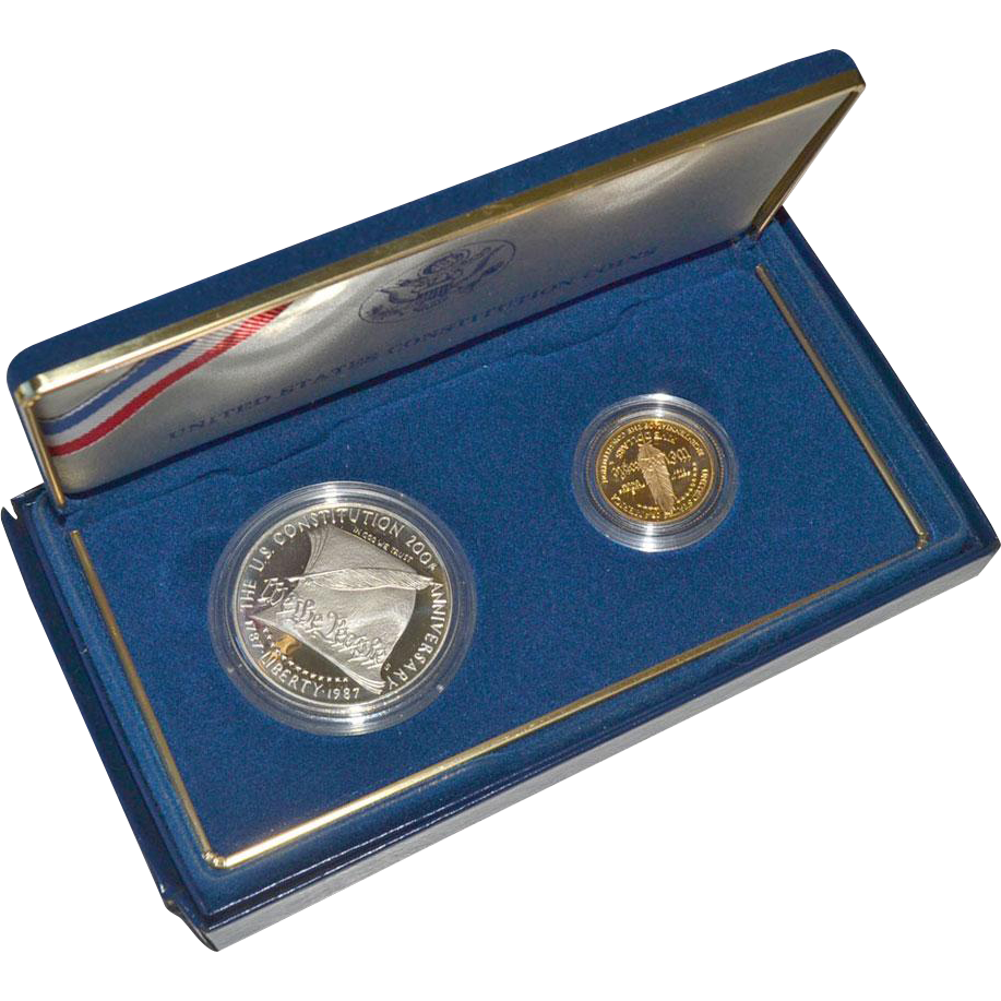 Constitution Coin Set Gold $5 Coin and Silver Dollar 1987