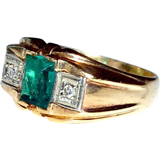 Ring Synthetic Emerald and Diamonds