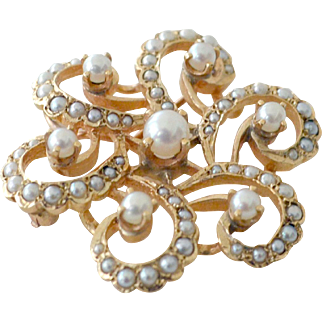 Pendant Brooch Cultured Pearl 14k Yellow Gold 9.2 Grams