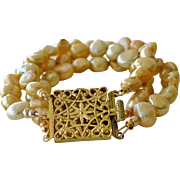 Bracelet Gold Freshwater Pearls Brass Clasp