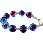 Bracelet Red and Blue Foil Half Inch Beads