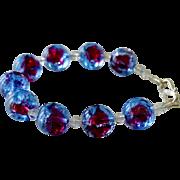 Bracelet Red and Blue Foil Half Inch Beads