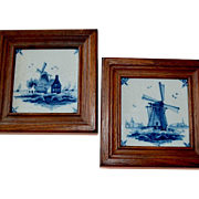 Two Tiles Windmills Blue and White Porcelain Makkum Holland