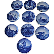 Ten Royal Copenhagen Miniature Collectible Plates