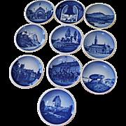 Ten Royal Copenhagen Miniature Collectible Plates