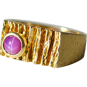 Ring Pink Star Sapphire 14k Gold