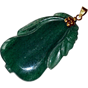 Pendant Dark Green Jade 14k Gold