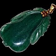 Pendant Dark Green Jade 14k Gold
