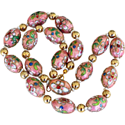 Necklace Large Cloisonne Style Enamel Beads Dusty Rose