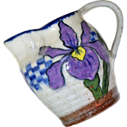 Pottery Pitcher Iris Hand Painted