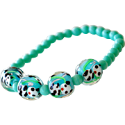 Bracelet with Panda Bear Art Glass Beads