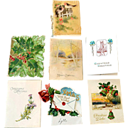 Seven Small Christmas Cards One Celluloid