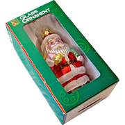 Santa Claus Christmas Ornament Glass 5 Inches