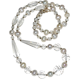 Necklace Crystal and Freshwater Pearls Sterling Clasp