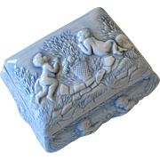 Trinket Box with Cherubs Pale Blue
