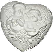 Heart Shaped Dresser Box with Cherubs