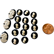 Cameo Buttons 21 Black and White Two Sizes