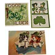 Two St. Patricks Day Greeting Cards One Trimmed Postcard