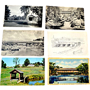 Six Postcards Covered Bridges New Hampshire Vermont One Real Photo