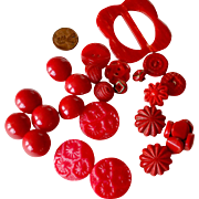 Buckle and 27 Red Buttons Assorted Sizes