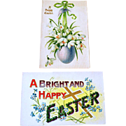 Easter Postcards One Silk One Embossed