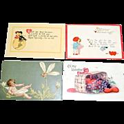 Four Valentine Day Postcards