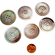 Six Large Mother of Pearl Shell Buttons