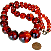 Necklace Jumbo Beads Root Beer 26 Inches
