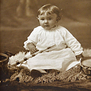 Photograph Baby with Toy Horn Drums 1916 Cut Out Folder