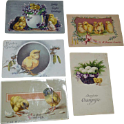 Five Easter Postcards with Chicks One Tuck