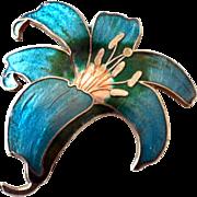 Flower Pin Brooch Cloisonne Style Enamel